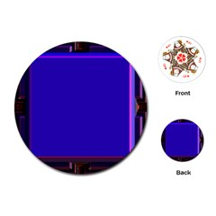 Blue Fractal Square Button Playing Cards (round)  by Simbadda