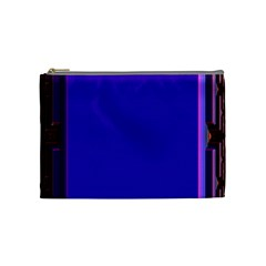 Blue Fractal Square Button Cosmetic Bag (medium)