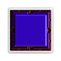 Blue Fractal Square Button Memory Card Reader (square)