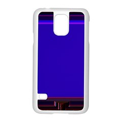Blue Fractal Square Button Samsung Galaxy S5 Case (white) by Simbadda