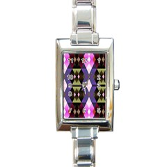 Geometric Abstract Background Art Rectangle Italian Charm Watch