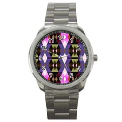 Geometric Abstract Background Art Sport Metal Watch by Simbadda