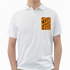 Fractal Background With Gold Pipes Golf Shirts