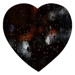 Lights And Drops While On The Road Jigsaw Puzzle (heart) by Simbadda