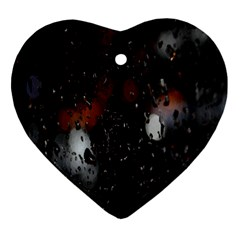 Lights And Drops While On The Road Heart Ornament (two Sides) by Simbadda