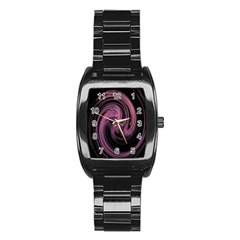 A Pink Purple Swirl Fractal And Flame Style Stainless Steel Barrel Watch by Simbadda