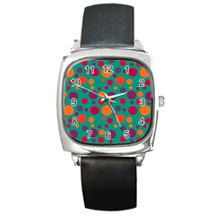 Polka Dots Square Metal Watch by Valentinaart