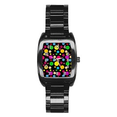 Polka Dots Stainless Steel Barrel Watch by Valentinaart