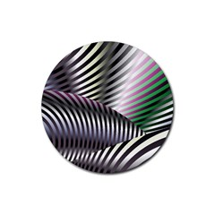 Fractal Zebra Pattern Rubber Round Coaster (4 Pack)  by Simbadda