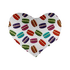 Macaroons  Standard 16  Premium Flano Heart Shape Cushions by Valentinaart
