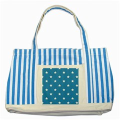 Stars Pattern Striped Blue Tote Bag by Valentinaart