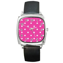 Stars Pattern Square Metal Watch by Valentinaart