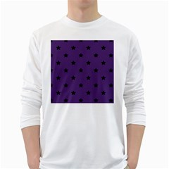 Stars Pattern White Long Sleeve T Shirts