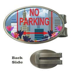 No Parking  Money Clips (oval)  by Valentinaart