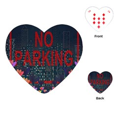 No Parking  Playing Cards (heart)  by Valentinaart