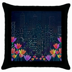 Urban Nature Throw Pillow Case (black) by Valentinaart