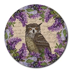 Vintage Owl And Lilac Round Mousepads by Valentinaart