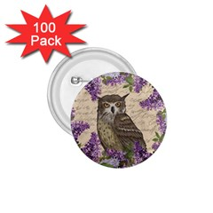 Vintage Owl And Lilac 1 75  Buttons (100 Pack)  by Valentinaart