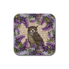 Vintage Owl And Lilac Rubber Square Coaster (4 Pack)  by Valentinaart