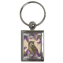 Vintage Owl And Lilac Key Chains (rectangle)  by Valentinaart