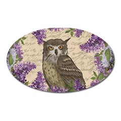 Vintage Owl And Lilac Oval Magnet by Valentinaart