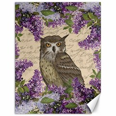 Vintage Owl And Lilac Canvas 12  X 16   by Valentinaart