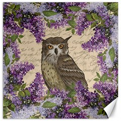 Vintage Owl And Lilac Canvas 20  X 20   by Valentinaart