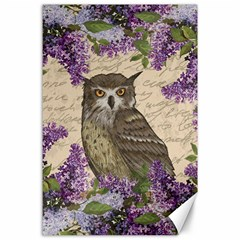 Vintage Owl And Lilac Canvas 24  X 36  by Valentinaart