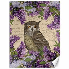 Vintage Owl And Lilac Canvas 36  X 48   by Valentinaart