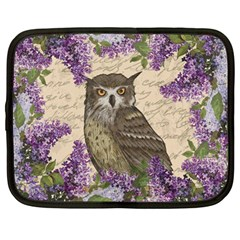 Vintage Owl And Lilac Netbook Case (large) by Valentinaart