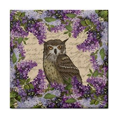 Vintage Owl And Lilac Face Towel by Valentinaart