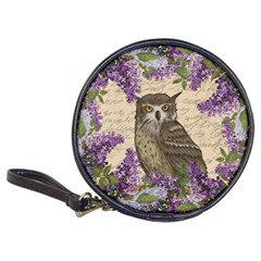 Vintage Owl And Lilac Classic 20 Cd Wallets by Valentinaart