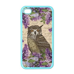 Vintage Owl And Lilac Apple Iphone 4 Case (color)