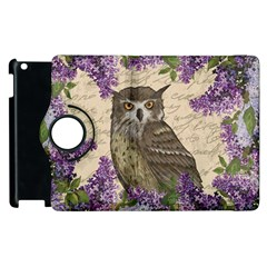 Vintage Owl And Lilac Apple Ipad 2 Flip 360 Case by Valentinaart
