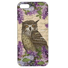 Vintage Owl And Lilac Apple Iphone 5 Hardshell Case With Stand