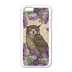 Vintage Owl And Lilac Apple Iphone 6/6s White Enamel Case by Valentinaart