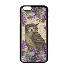 Vintage Owl And Lilac Apple Iphone 6/6s Black Enamel Case by Valentinaart