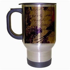 Vintage Bird And Lilac Travel Mug (silver Gray) by Valentinaart