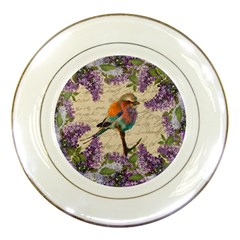 Vintage Bird And Lilac Porcelain Plates by Valentinaart