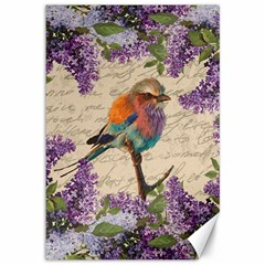 Vintage Bird And Lilac Canvas 12  X 18   by Valentinaart