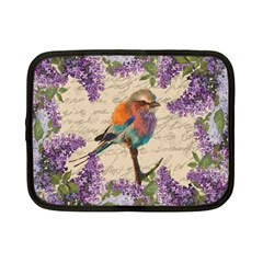 Vintage Bird And Lilac Netbook Case (small)  by Valentinaart