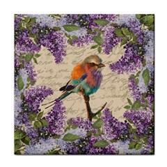Vintage Bird And Lilac Face Towel by Valentinaart