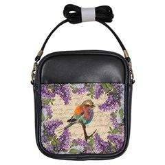 Vintage Bird And Lilac Girls Sling Bags by Valentinaart