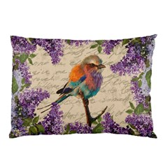 Vintage Bird And Lilac Pillow Case (two Sides) by Valentinaart