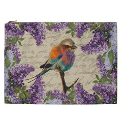 Vintage Bird And Lilac Cosmetic Bag (xxl)  by Valentinaart