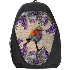 Vintage Bird And Lilac Backpack Bag by Valentinaart