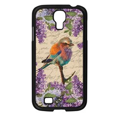 Vintage Bird And Lilac Samsung Galaxy S4 I9500/ I9505 Case (black) by Valentinaart
