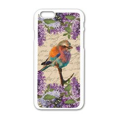 Vintage Bird And Lilac Apple Iphone 6/6s White Enamel Case by Valentinaart