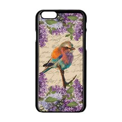 Vintage Bird And Lilac Apple Iphone 6/6s Black Enamel Case by Valentinaart