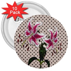 Vintage Flowers 3  Buttons (10 Pack)  by Valentinaart